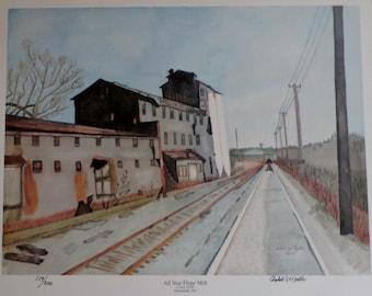 All Star Flour Mill watercolor print by Robert Martin