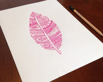 Pink Leaf Drawing