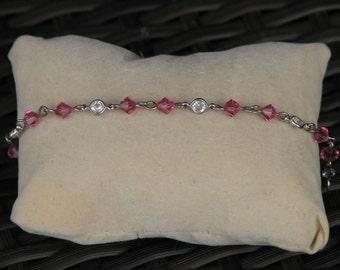 Swarovski Bracelet, Handmade, Rose Crystals, Clear Crystals, Metal, Bicone, Round, Pink, Clear, Jewellery, Beads
