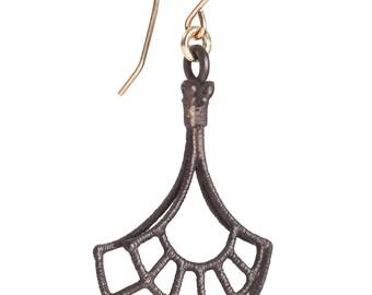 Geometric earrings - geometric pattern earrings - Charcoal grey earrings - gift for her - handmade jewelry