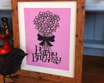 Happy Birthday Flowerst - A paper cutting template - Personal And Commercial Use PDF