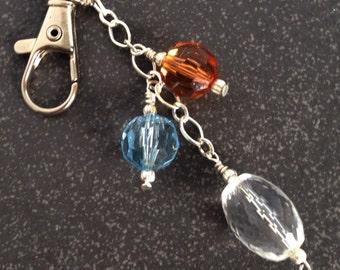 Topaz Coloured Beaded Bag Charm, Gift for Her, Key Ring