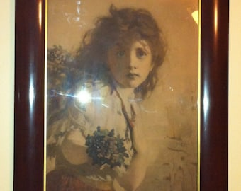 G.E. Hicks listed artist titled  penny a bunch sepia tone lithograph print 26 by 21 inches (rapheal tuck and sons) is print maker