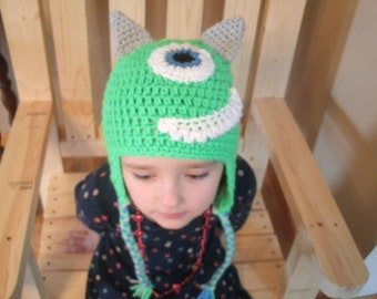 Crochet Mike from Monster U hat, newborn to adult sizes, handmade crochet hat with earflaps and Braid ties