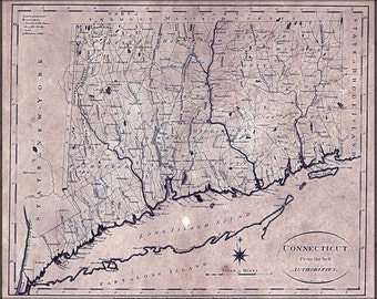 24x36 Poster; Map Of Connecticut 1796