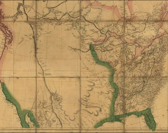 24x36 Poster; Map Of Interior Of United States Of America 1802