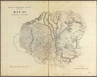 24x36 Poster; Map Of Kauai, Hawaii, 1903