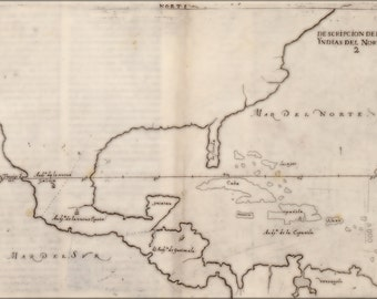 24x36 Poster; Map Of North America 1601 In Spanish