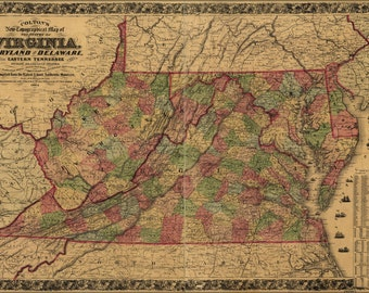 24x36 Poster; Topography Map Virginia Maryland Delaware 1864 P2