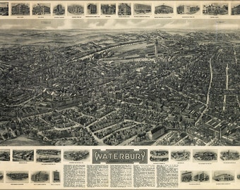 24x36 Poster; Aero View Map Of Waterbury, Connecticut 1917