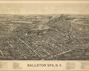 24x36 Poster; Birdseye View Map Of Ballston Spa, N.Y 1890