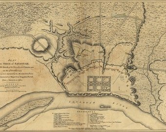 24x36 Poster; Map Of Siege Of Savannah Georgia 1779