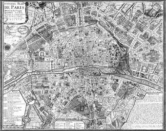 24x36 Poster; Map Of Paris France Circa 1705
