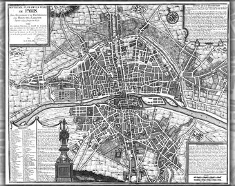 24x36 Poster; Map Of Paris France From 1589 To 1643