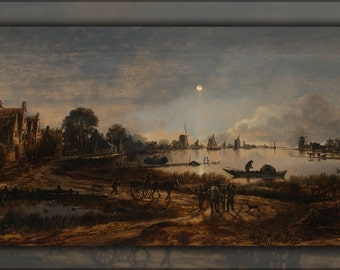24x36 Poster; River View By Moonlight By Aert Van Der Neer