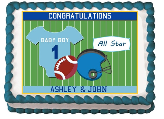 blue football themed edible baby shower boy party cake cupcake toppers