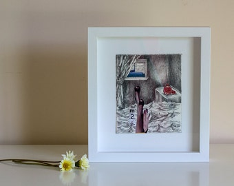 Pencil Drawing on Stonehenge Paper with Collage and Archival Varnish unframed