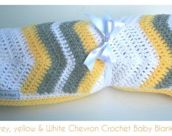 Yellow, Grey & White Chevron Crochet Baby Blanket