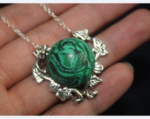 Malachite necklace antique jewelry bridesmaid gift Victoria style gift idea natural style branch jewelry Christmas gifts--N1265
