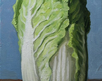 Napa Cabbage Painting, original oil painting still life on plywood by Aleksey Vaynshteyn