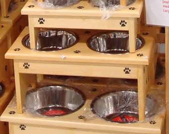 2 dish Standing Dog and Cat feeders
