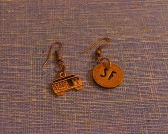 San Francisco streetcar earrings