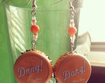 Upcycled DANG cap beerings with accent beads