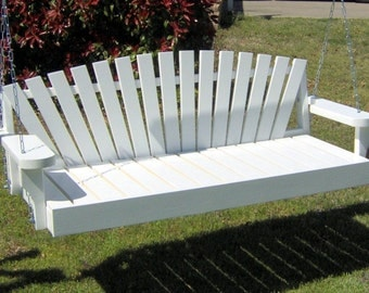 Brand New 6 Foot Painted Sunrise Style White Porch Swing - with Hanging Chain or Rope - Free Shipping
