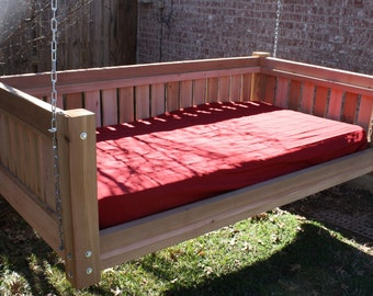 Brand New Cedar Daybed Swing in Victorian style, Full Size Swinging Bed with Hanging Chain or Rope - Free Shipping