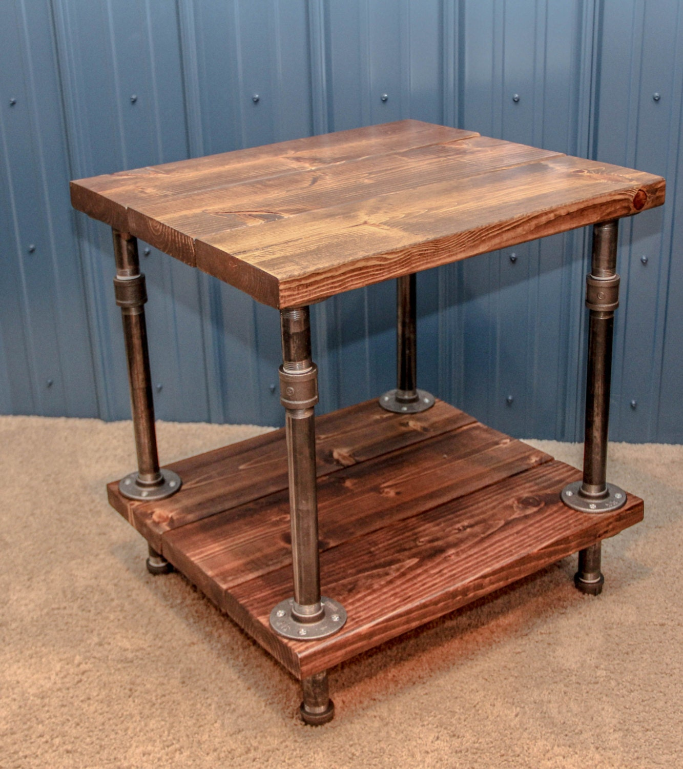 Industrial wood and pipe end table rustic by for Rustic pipe table