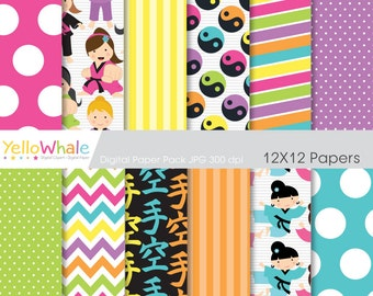 Digital Paper Pack - Karate girls chevron polka dots stripes for scrapbooking invitations paper crafts  - INSTANT DOWNLOAD