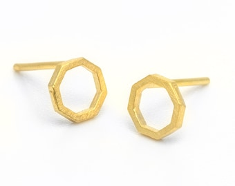 Gold stud earrings, octagon studs, gold geometric studs, 14k gold minimal stud earrings, Women stud earrings, delicate gold earrings