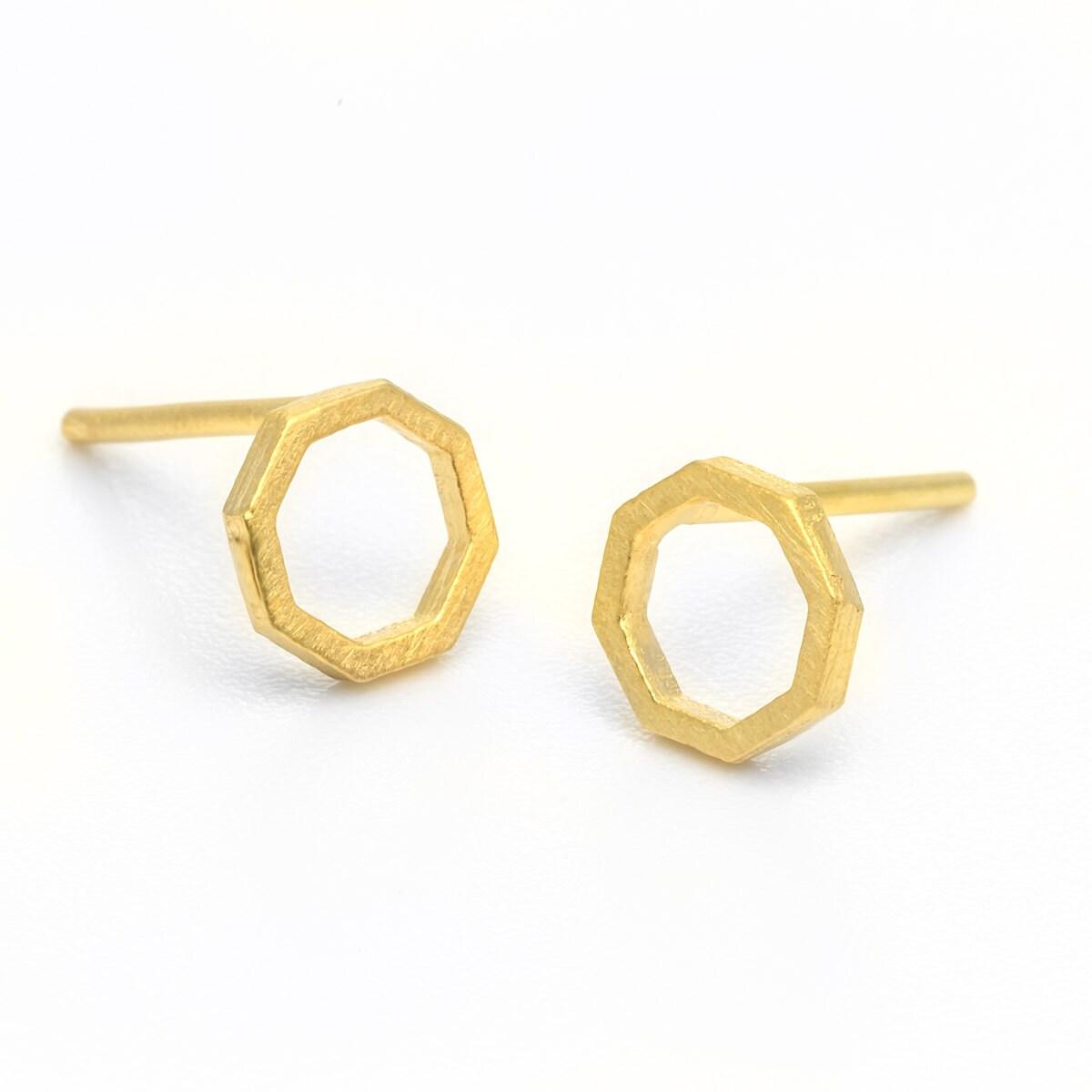 Gold Stud Earrings, Octagon Studs, Gold Geometric Studs, 14k Gold Minimal Stud  Earrings