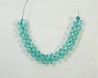 """Apatite faceted drop briolette beads AAA 6.5mm 4"""" strand"""