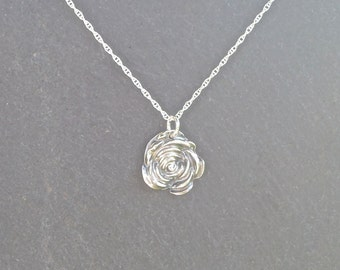 Silver Rose necklace/pendant, fine silver, flower necklace silver necklace