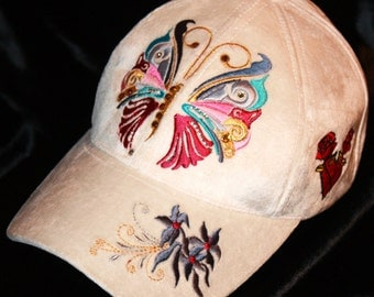Glam Rock Clothing Baseball Hat Butterfly  Ladies Cap Silk Velvet Chic Urban Wear Accessories