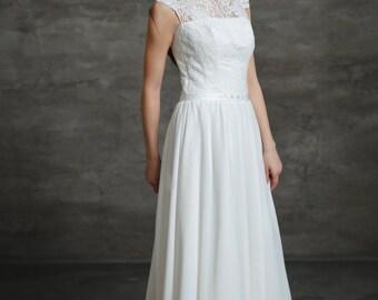 Boho A-Line Vintage Inspired Chiffon Wedding Dress with Illusion Neckline, Lace Corset, Swarovski Crystal Belt, Open Back