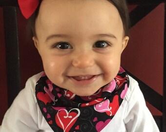 Baby bandana bib, Hearts with matching headband,valentines day, bibdana