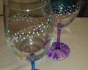 Hand painted set of 4 dotted wine glasses