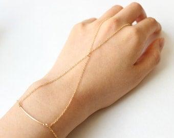 X Cross Slave Bracelet, 14k Gold Fill Chain Bracelet, Simple Curved Bar Cross Bracelet