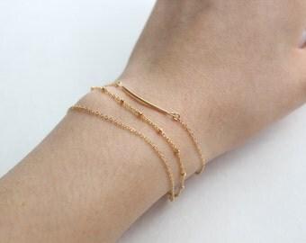 Minimalist Bracelet Set // Set of 3 - Curved Bar, Satellite Chain, & Classic Chain