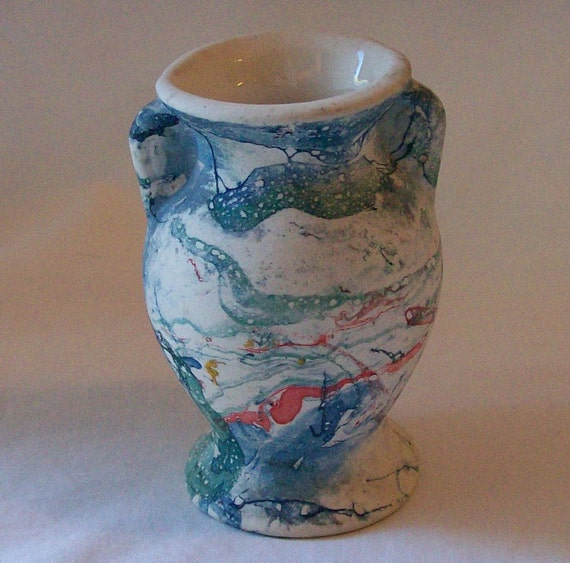 Vintage Usa Pottery End Of Day Blue Swirl Ware Mini Vase