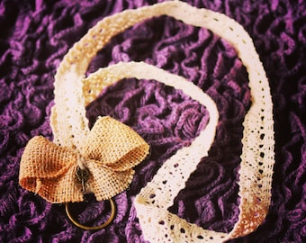 Lace Lanyard with a Burlap Bow