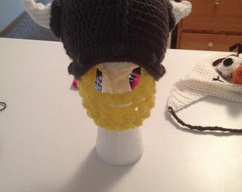 Crochet viking helmet with beard!