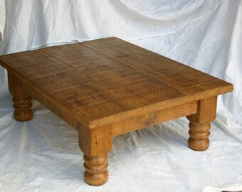 New Plank Coffee Table - solid wood table with turned legs, natural wax finish