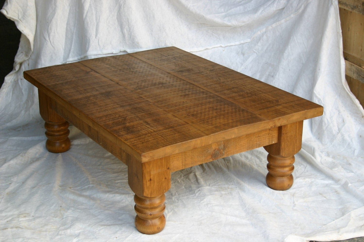 New Plank Coffee Table Solid Wood Table With Turned Legs