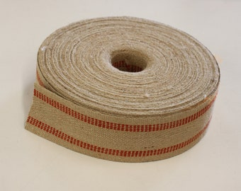 "Jute Webbing for Upholstery, Sold in 5 yds length  or more (79 cents per yd), Red Stripe, 11 Lb, 3.1/2"" wide, for chairs, sofa, decoration,"