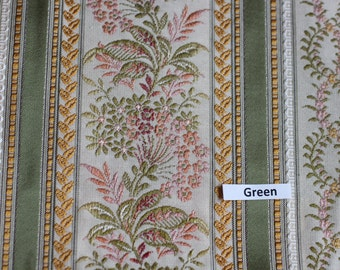 Lisere Green Stripe Fabric, Luxure woven Jacquard, For Upholstery, Bedding, Drapery, Wallcovering,