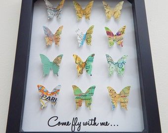 Butterfly Art - 3D Shadowbox! Come Fly With Me! Places you have been with your loved one! Valentine's Day, Wedding, Children's Room Decor!