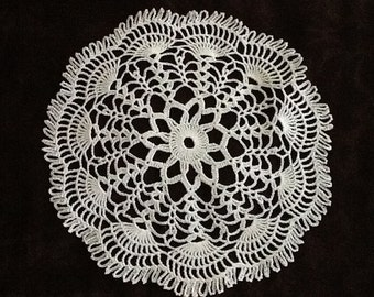 white crochet doily small